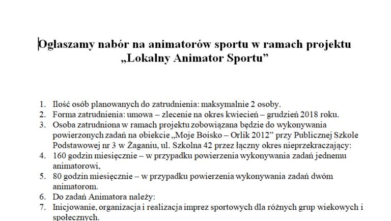 """Ogłaszamy nabór na animatorów sportu w ramach projektu """"Lokalny Animator Sportu"""""""